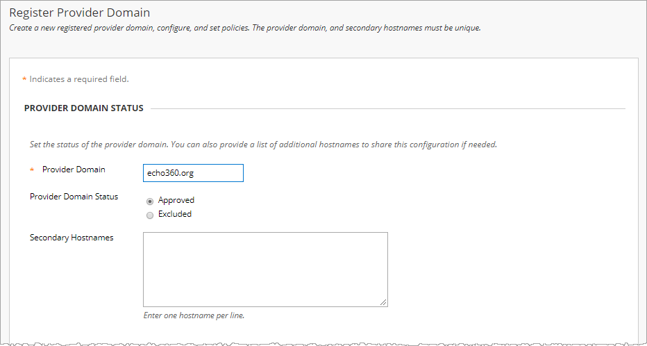 Register Provider Domain form in Blackboard with fields as described