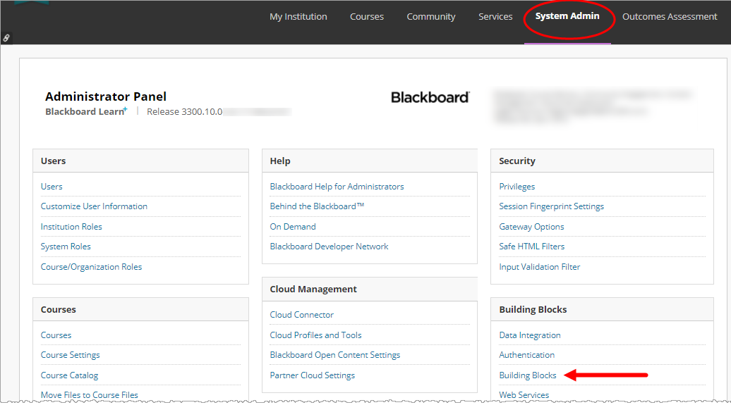 System Admin panel of Blackboard with Building Blocks option identified for selection as described