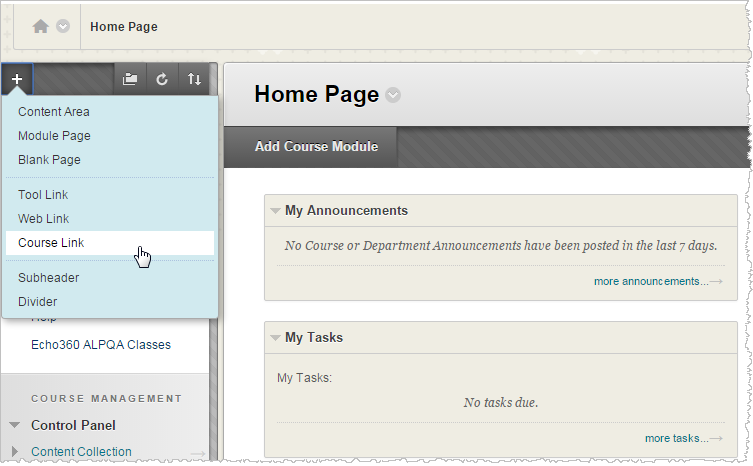 Blackboard course page with add course navigation menu shown for steps as described