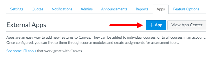 External Apps page in Canvas with Add App button identified for steps as described