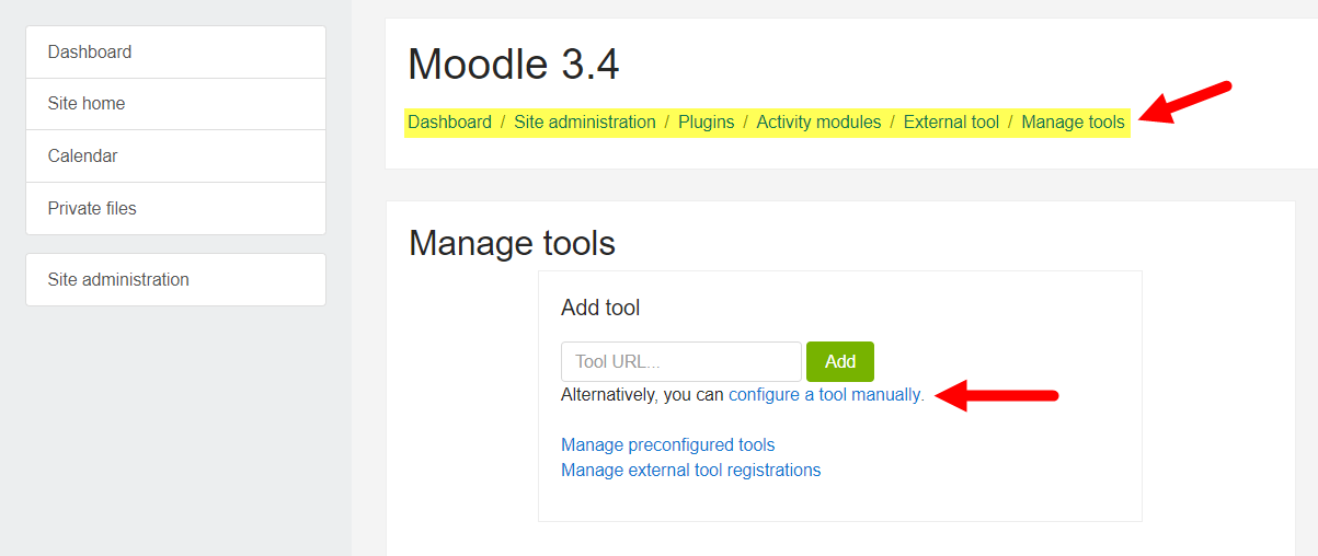 Manage external tools interface in Moodle with navigation and options identified for steps as described