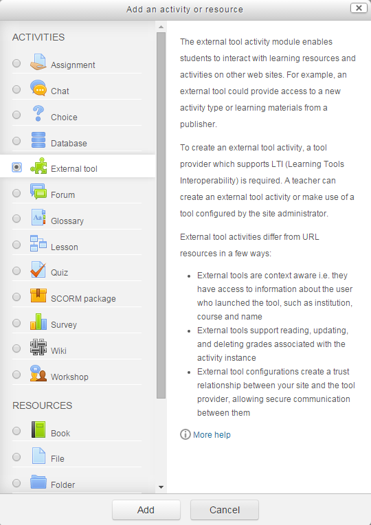 Add activity list in Moodle with External Tool selected as described