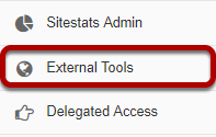Administration Workspace in Sakai with External Tools identified in the Tool menu as described