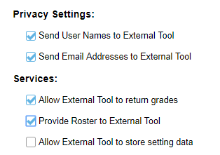 Sakai External Tool configuration form privacy and services settings as described