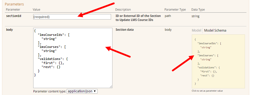 PUT section lms course id operation parameters for steps as described