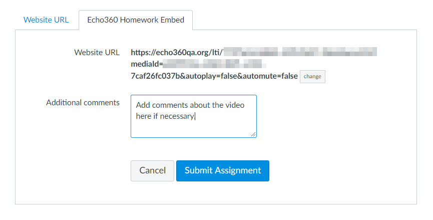 Echo360 homework embed tab with selected video URL and options as described