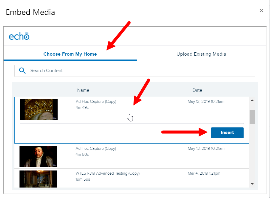 Submit Echo360 video window listing library content for steps as described