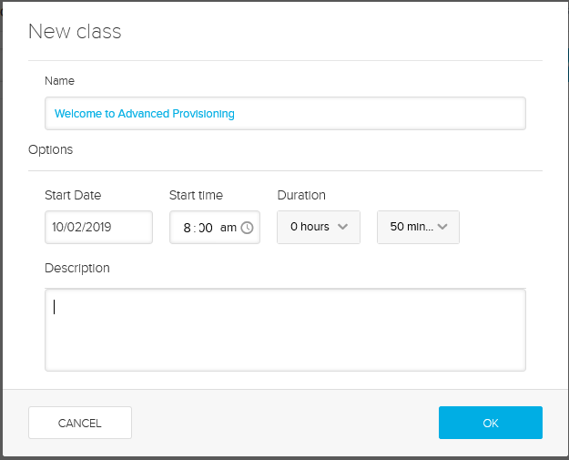 New class dialog box with fields filled in as described