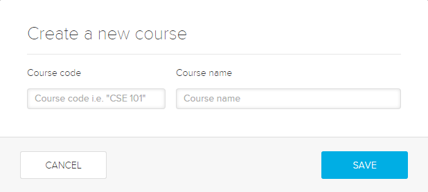 create a new course dialog box with fields as described