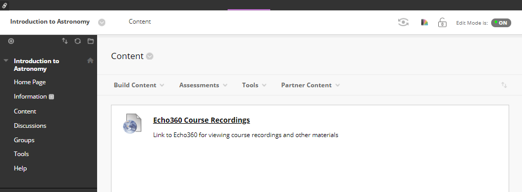 Course Content page in Blackboard showing link to Echo360