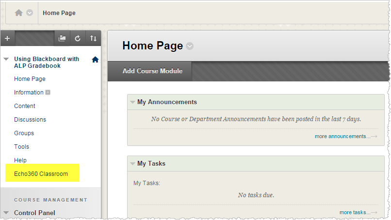 Blackboard course navigation showing newly created link to ALP