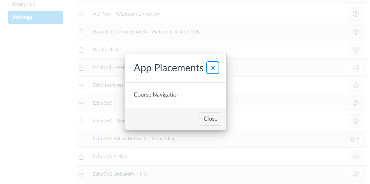 Echo360 app placement in Canvas showing Course Navigation as described