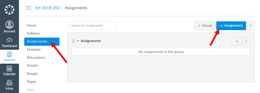 Assignments page for canvas course showing add assignments button as described