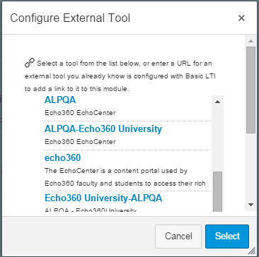 External tool list for linking to Canvas assignment as described
