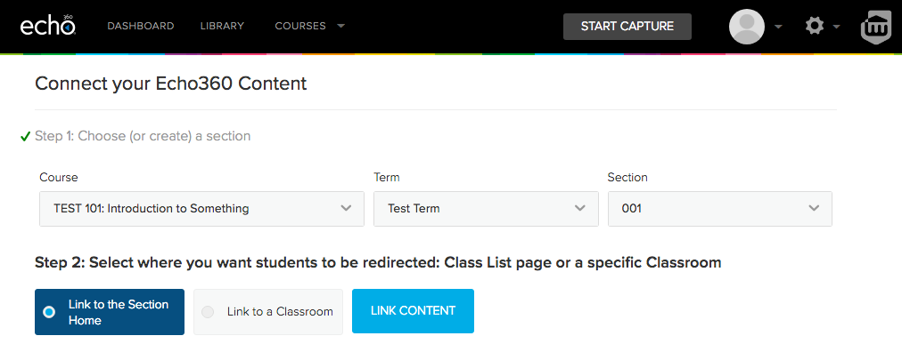 Select section and link to section home or to a specific class as target for Echo360 assignments link in Canvas.