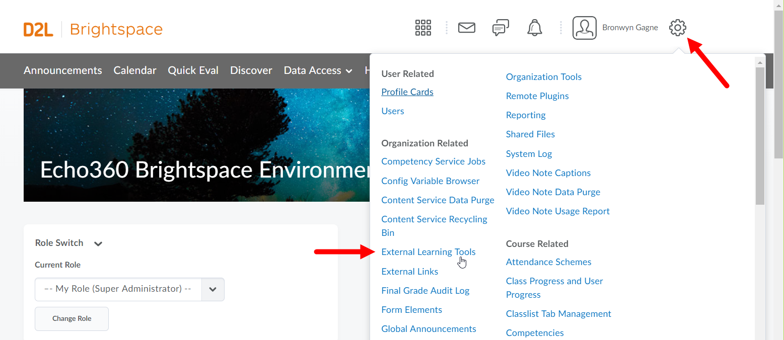 Brightspace Admin settings options with External tool link identified as described