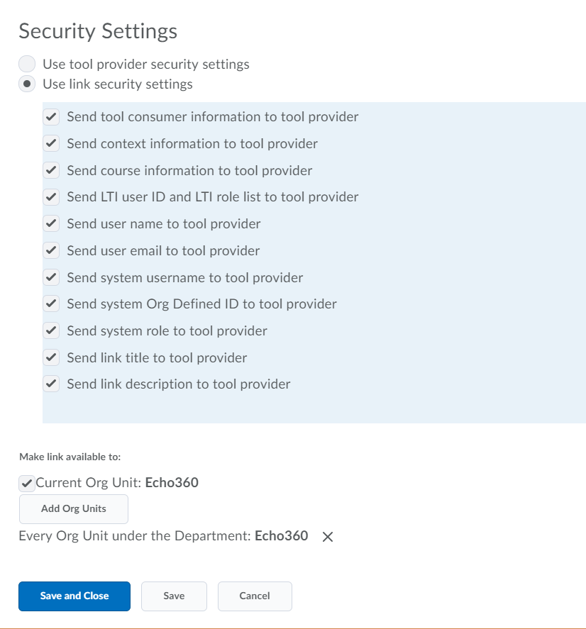 Brightspace LTI tool provider Security settings section of configuration page with options as described