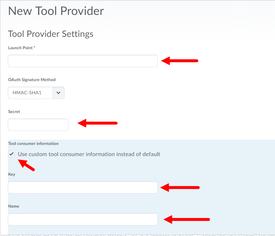 Brightspace New Tool Provider form with required fields identified for steps as described