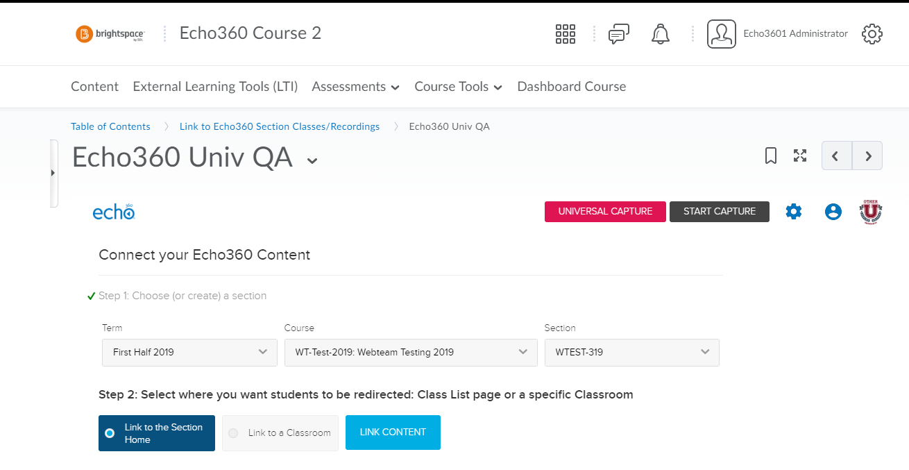 Echo360 link in Brightspace Course with term, course, and section selections shown as described