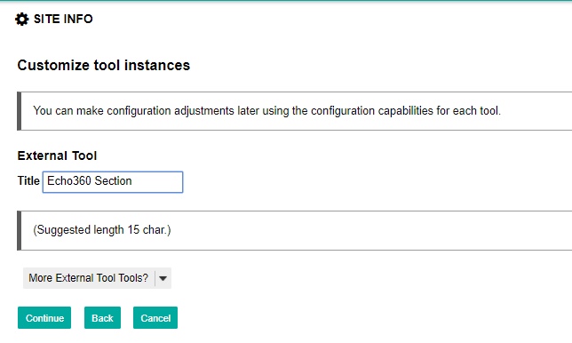 customize tool instances page with options for steps as described
