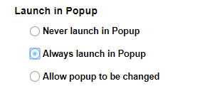 Sakai external tools settings with Launch in Popup section shown as described
