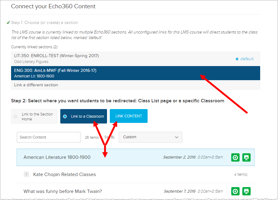 select a section page showing linking to a class for LMS as described