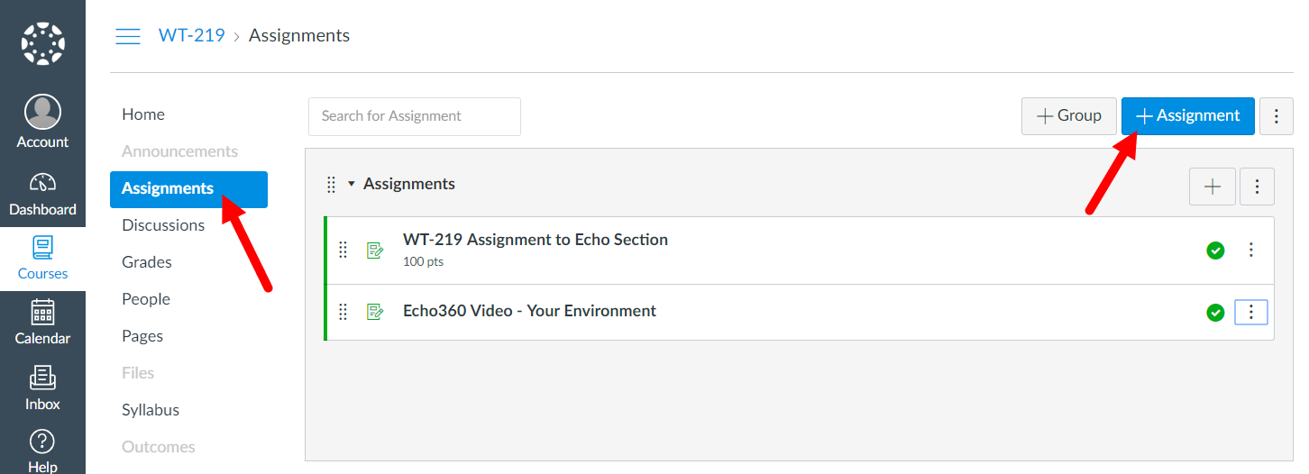 Canvas course with Assignments page showing and Add Assignment button identified as described
