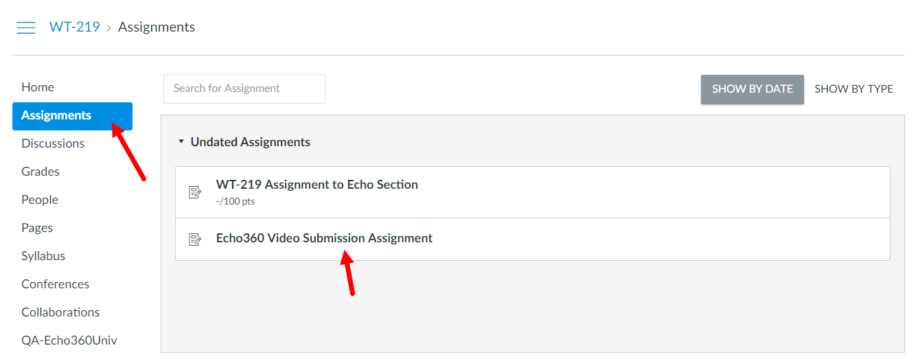 Student view of Canvas assignments list showing Echo360 video assignment for selection
