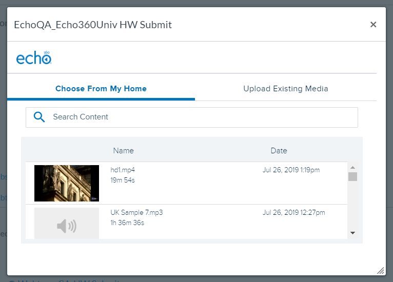 Embed Echo360 video library list for selection and steps as described