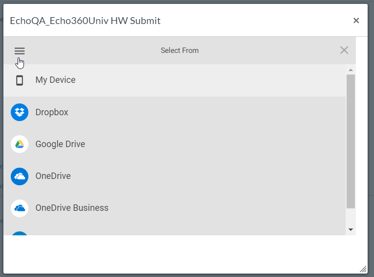 List of shared drive options for uploading video to submit as homework assignment as described
