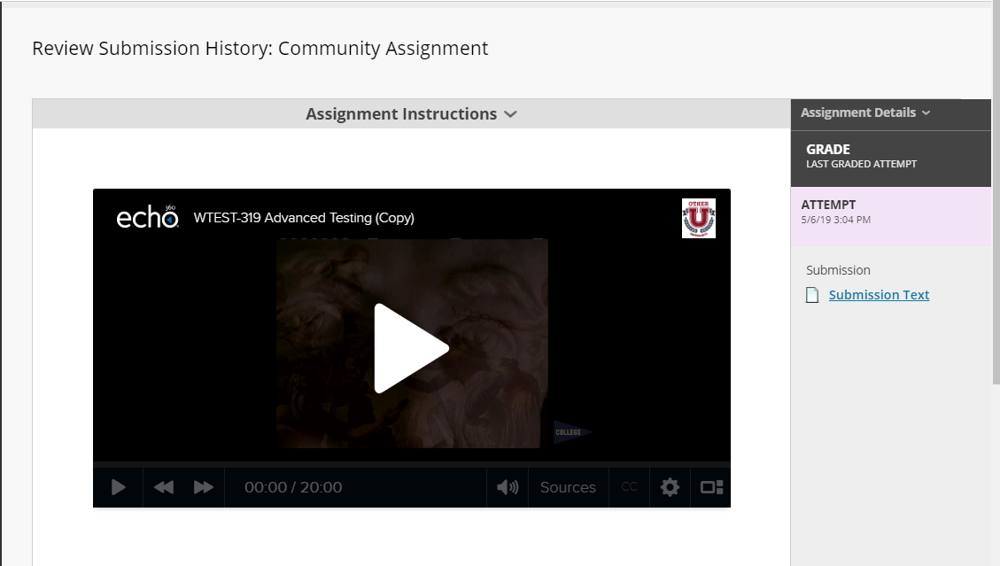 Assignment page showing student submitted Echo360 video as assignment response