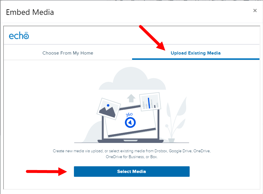 Upload media tab for homework submission with Select Media button identified.