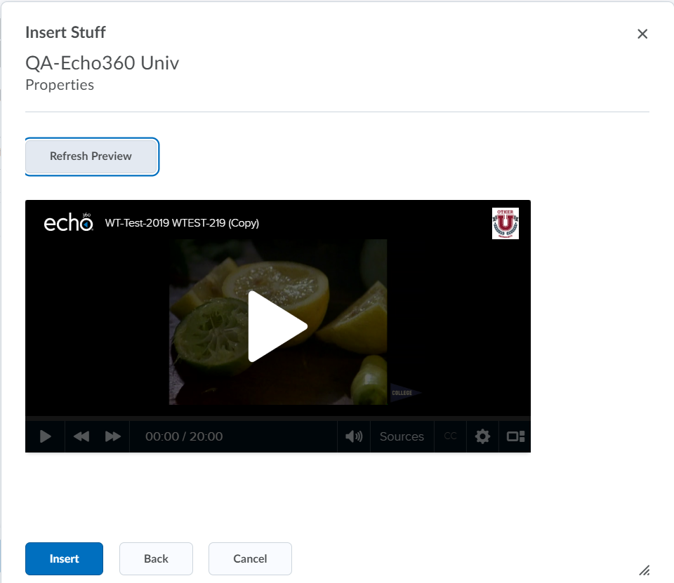 Insert Stuff preview window with embedded Echo360 video showing as described