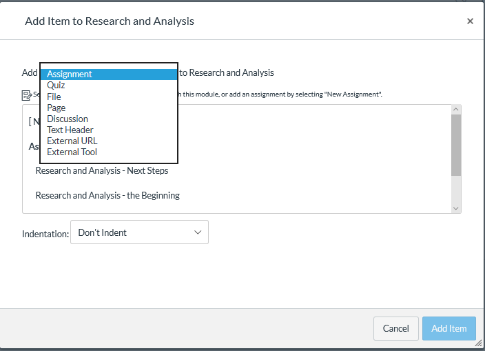 Add item to Module with Add item type drop-down list open with Assignment selection as described