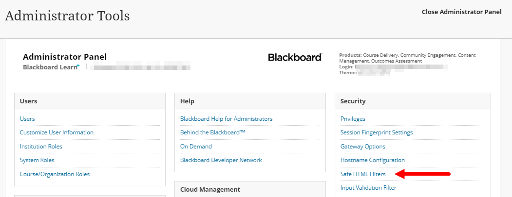 Blackboard Admin panel with Security block and Safe HTML Filters selection identified for steps as described