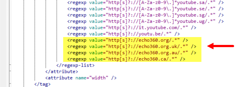XML file with added Echo360 entries shown including all Echo360 regional URLs