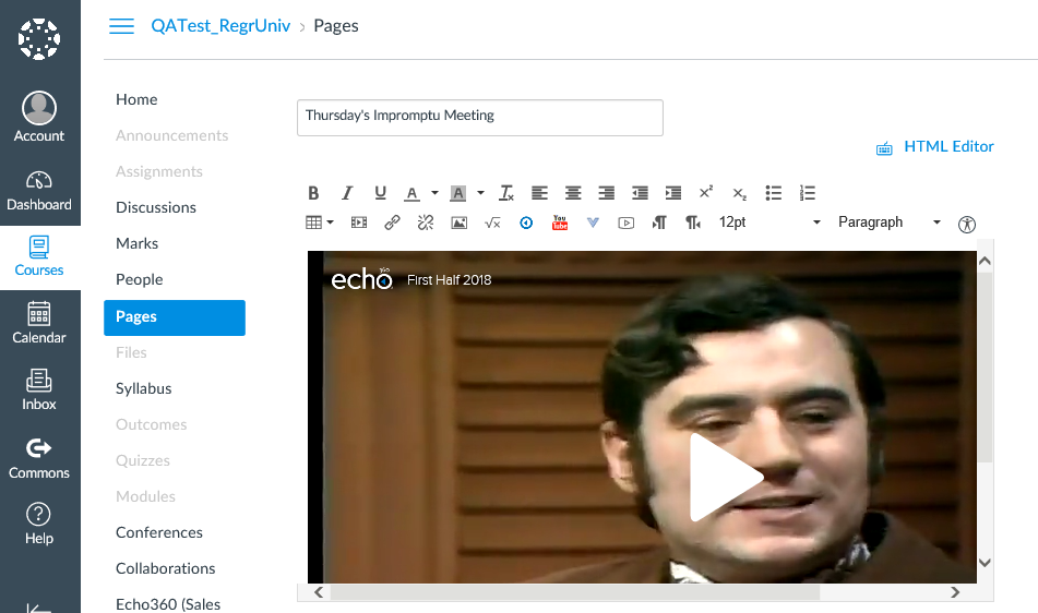Canvas Add Page after embed code is pasted and returned to Rich text editor