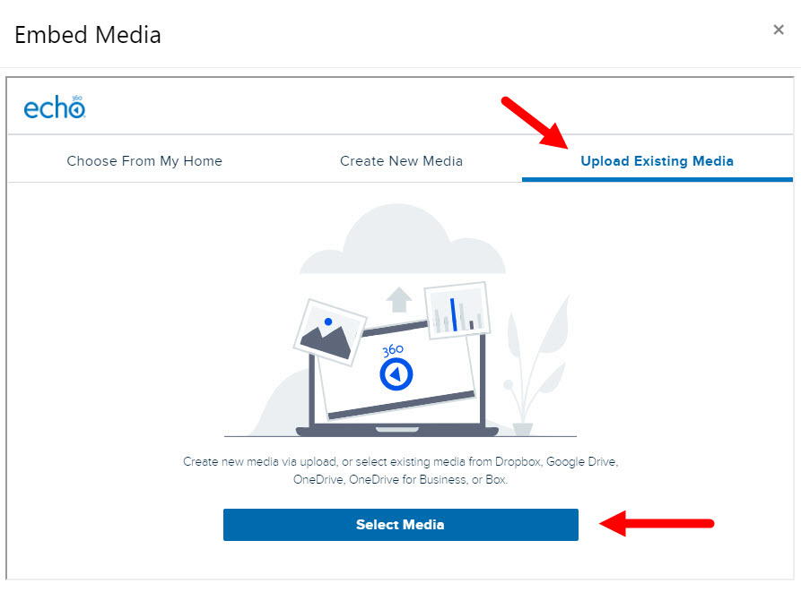 Select media to embed dialog box with Upload Existing Media tab identified for steps as described