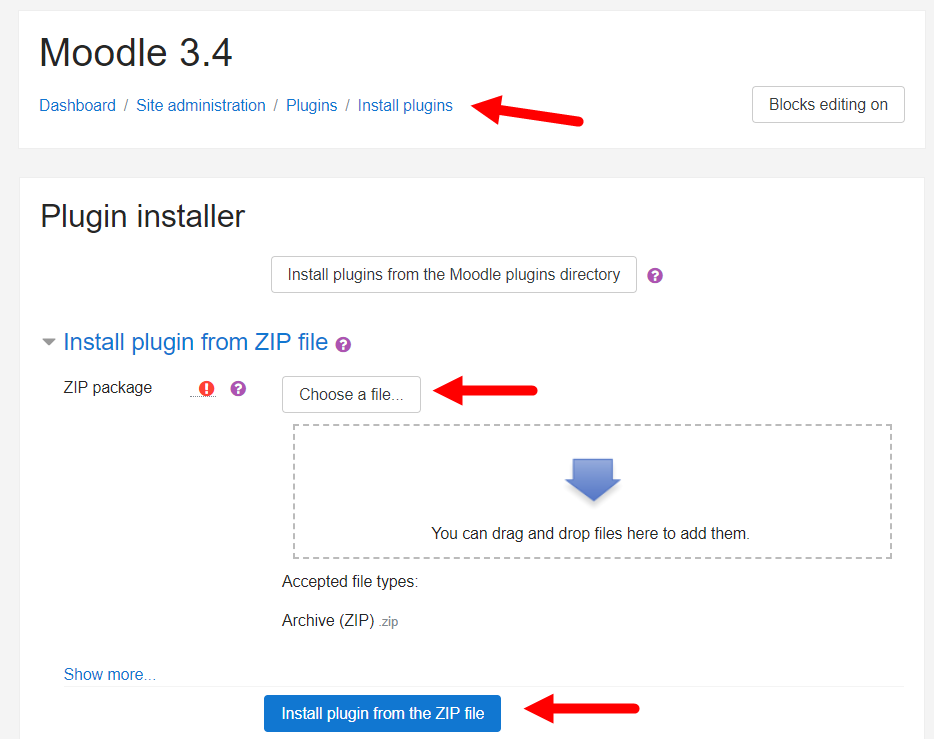 Moodle plugins installation page with options for steps as described