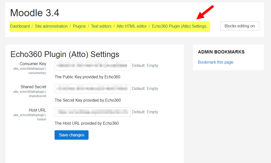 Settings page for the Echo360 plugin with LMS configuration value fields as described