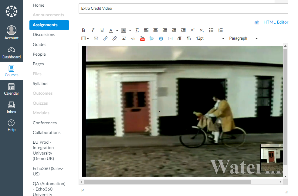 Preview of inserted video in content window as described