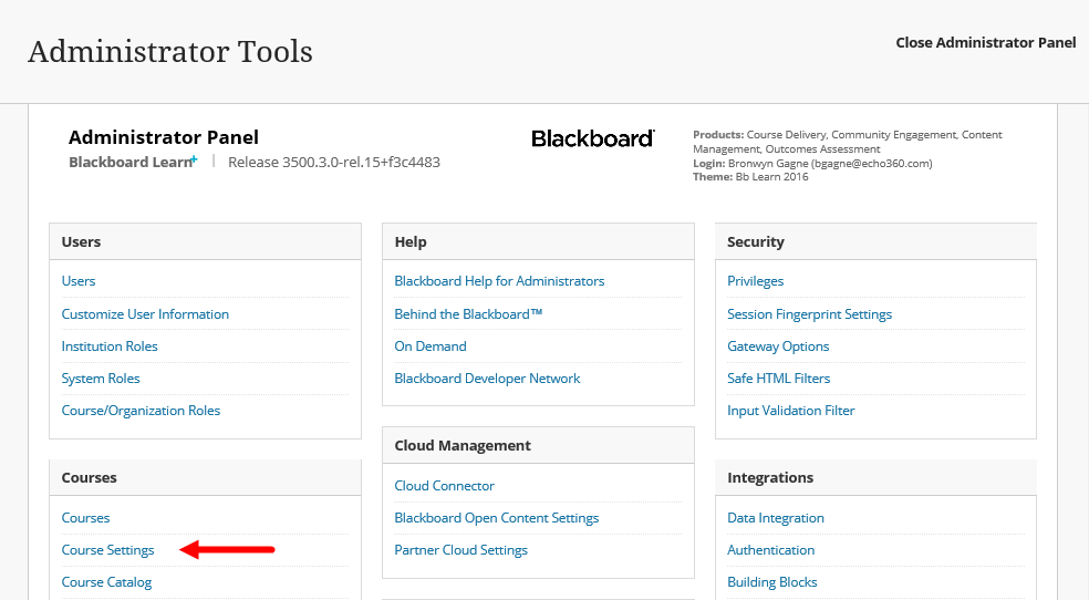 Blackboard Admin panel with Course Settings option identified for steps as described