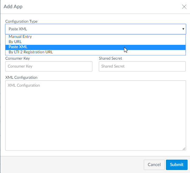 Add App dialog box in Canvas with PasteXML selected and fields for steps as described