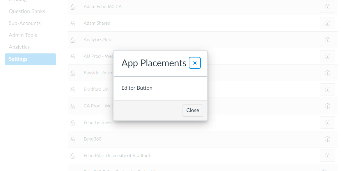 Echo360 app placement in Canvas showing Editor Button as described