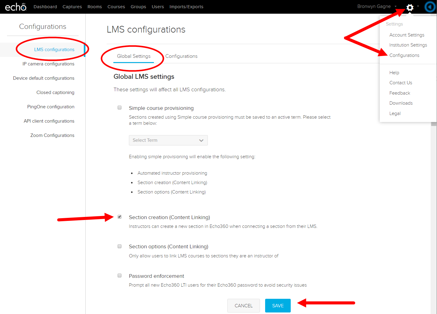 LMS Configurations page with Global Settings shown and Section creation option identified for steps as described