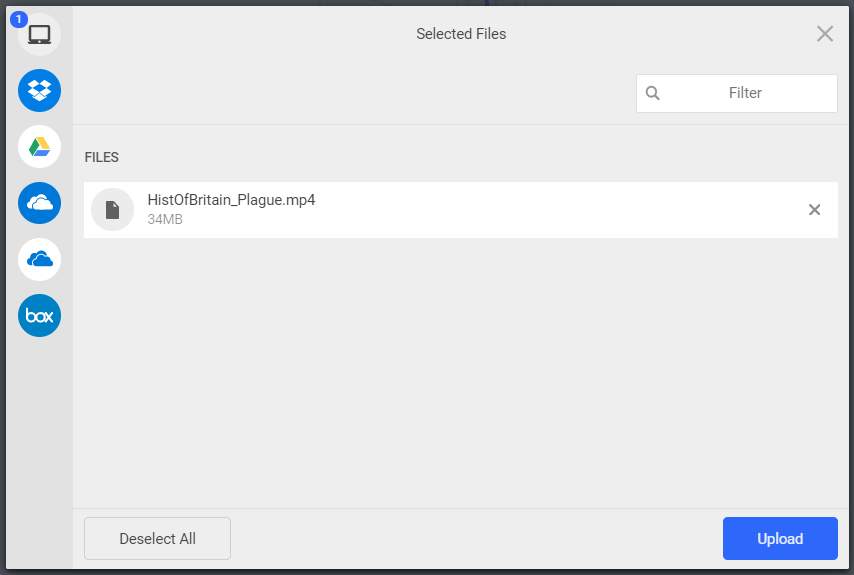 File selected for upload shown in dialog box for steps as described