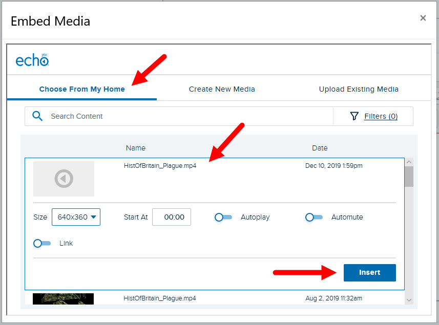 New video listed in media selection list with options shown for steps as described