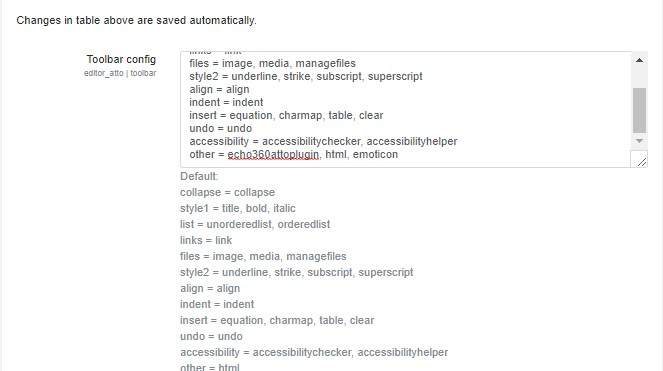Atto Plugin toolbar config values with Echo360 plugin name added to Other as described