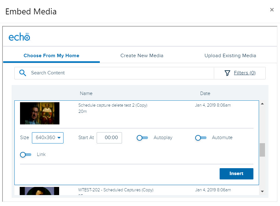Embed Echo360 video with item selected and options shown for steps as described