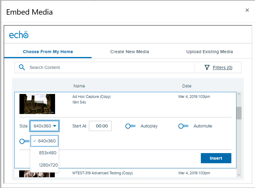 Embed Echo video selection list with item expanded and size drop-down list shown for steps as described